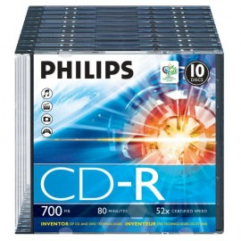 PHILIPS - CD-R 80Min 700MB 52x Slim Case (10 unidades)
